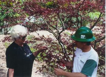 Arborist providing tree health advice to a customer in Chesterfield, MO